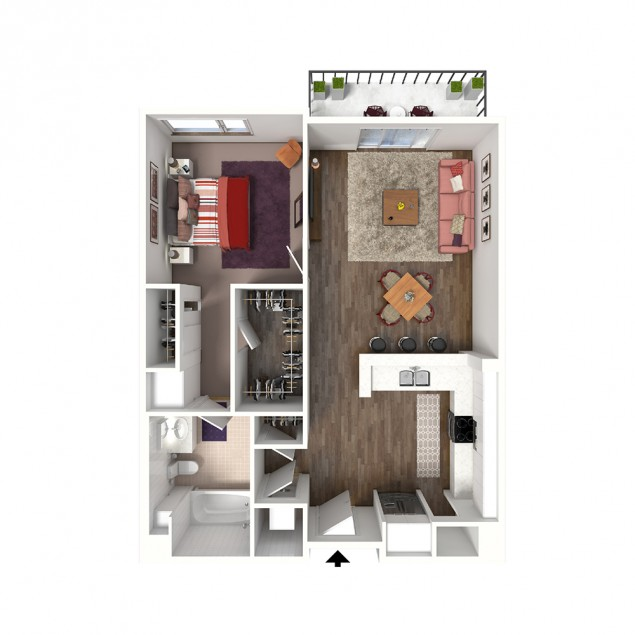 1A- ALT 1 bedroom 1 bath floor plan