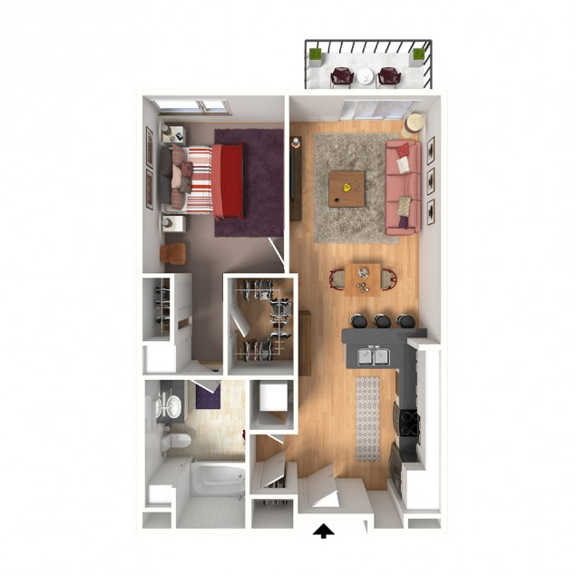 1B-A 1 bedroom 1 bath floor plan