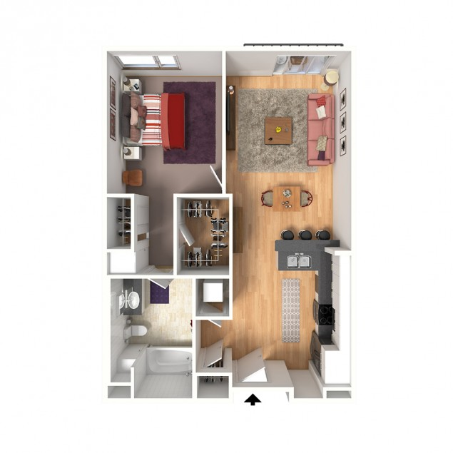 1B-A2 1 bedroom 1 bath floor plan