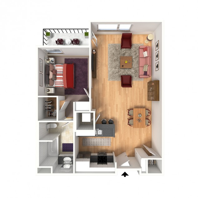 1B-C 1 bedroom 1 bath floor plan