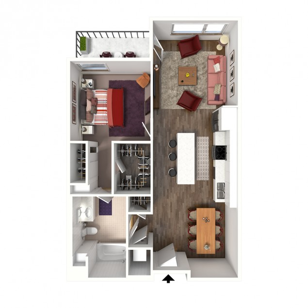 1B-E 1 bedroom 1 bath floor plan