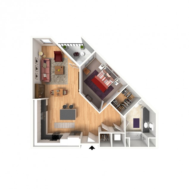 1B 1 bedroom 1 bath floor plan