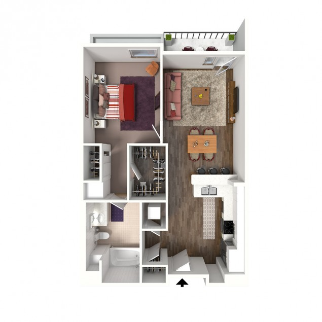 1B-A Stoop 1 bedroom 1 bath floor plan