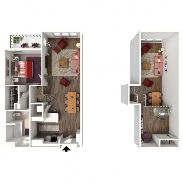 1B-B Loft 1 bedroom 1 bath floor plan