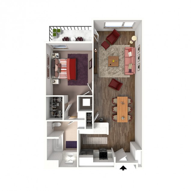 1B-B 1 bedroom 1 bath floor plan