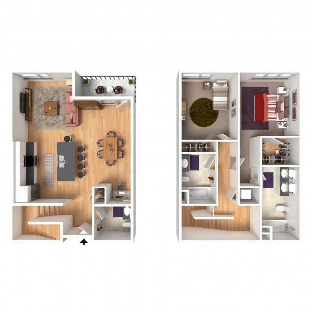 2B-A Townhome 2 bedroom 2 bath floor plan