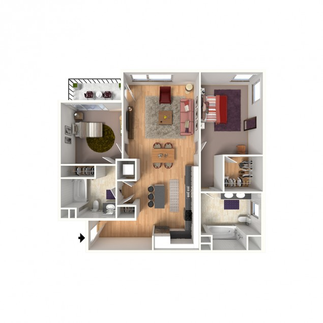 2B-A 2 bedroom 2 bath floor plan
