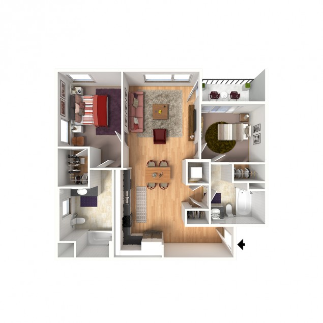 2B-B 2 bedroom 2 bath floor plan
