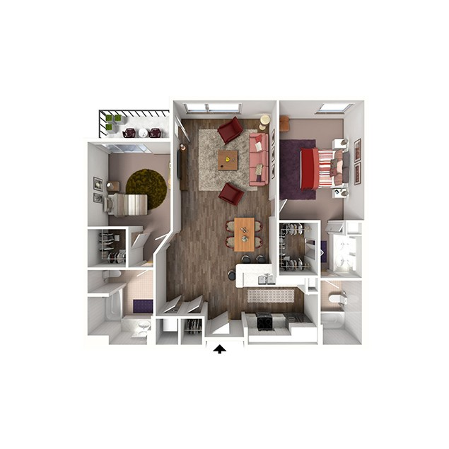 2B-BB 2 bedroom 2 bath floor plan