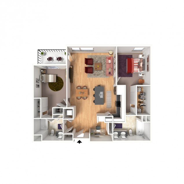 2B-C 2 bedroom 2 bath floor plan