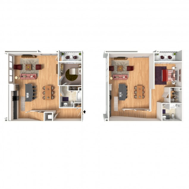 2C-Mezz 2 bedroom 2 bath floor plan