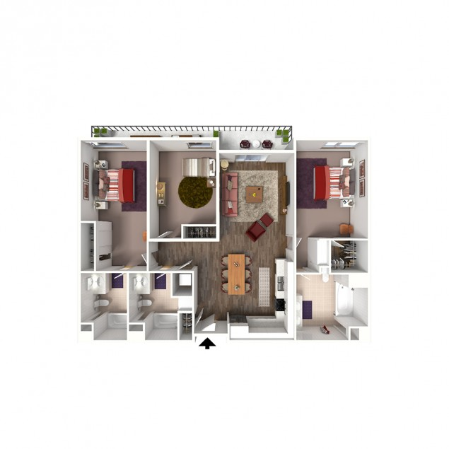 3B-B 3 bedroom 3 bath floor plan