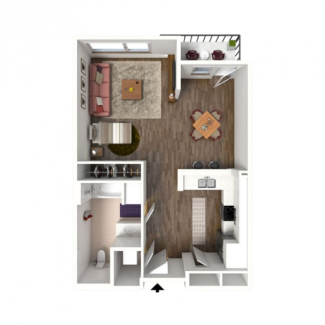 SA studio 1 bath floor plan