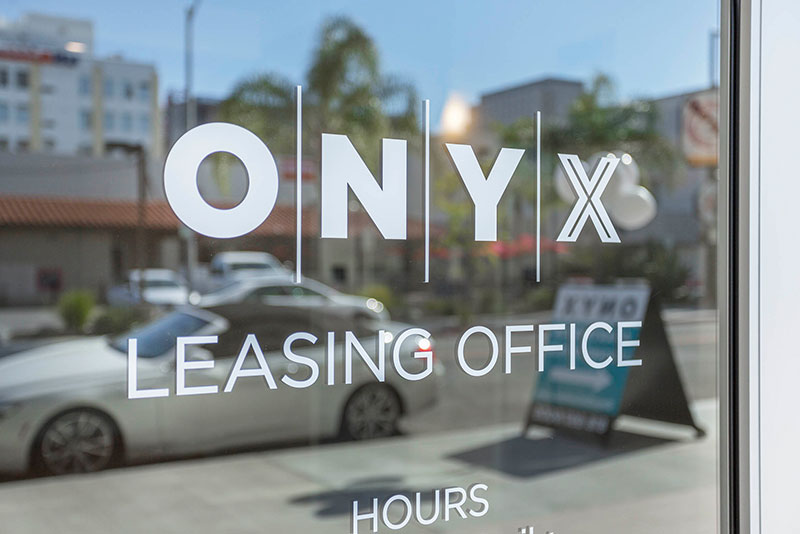Onyx Gelndale leasing office window