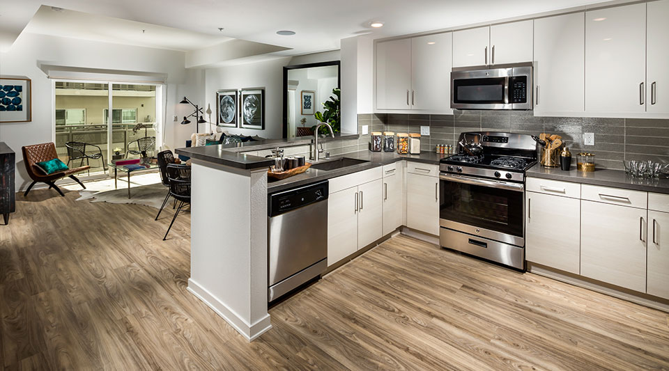 Glendale Apartments for Rent - ONYX Glendale Gourmet Kitchen with Stainless Steel Appliances, Ample Storage Space, and Dish Washer